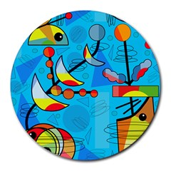 Happy Day   Blue Round Mousepads by Valentinaart