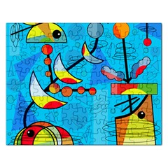 Happy Day   Blue Rectangular Jigsaw Puzzl by Valentinaart