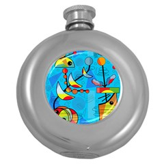 Happy Day   Blue Round Hip Flask (5 Oz) by Valentinaart