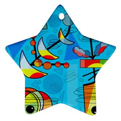 Happy Day   Blue Star Ornament (two Sides)  by Valentinaart