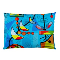 Happy Day   Blue Pillow Case by Valentinaart