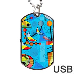 Happy Day   Blue Dog Tag Usb Flash (two Sides)  by Valentinaart