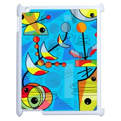 Happy Day   Blue Apple Ipad 2 Case (white) by Valentinaart