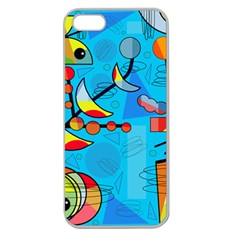 Happy Day   Blue Apple Seamless Iphone 5 Case (clear) by Valentinaart