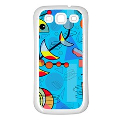 Happy Day   Blue Samsung Galaxy S3 Back Case (white) by Valentinaart