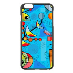 Happy Day   Blue Apple Iphone 6 Plus/6s Plus Black Enamel Case by Valentinaart