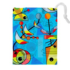 Happy Day   Blue Drawstring Pouches (xxl) by Valentinaart