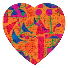 Happy Day   Orange Jigsaw Puzzle (heart) by Valentinaart