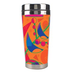 Happy Day   Orange Stainless Steel Travel Tumblers by Valentinaart