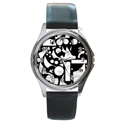 Happy Day   Black And White Round Metal Watch by Valentinaart