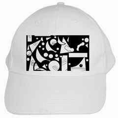 Happy Day   Black And White White Cap by Valentinaart