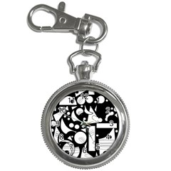 Happy Day   Black And White Key Chain Watches