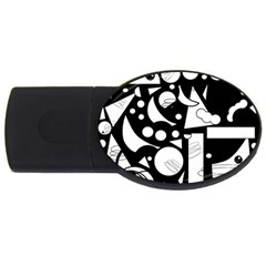 Happy Day   Black And White Usb Flash Drive Oval (2 Gb)  by Valentinaart