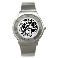 Happy Day   Black And White Stainless Steel Watch by Valentinaart