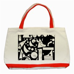 Happy Day   Black And White Classic Tote Bag (red) by Valentinaart