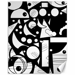Happy Day   Black And White Canvas 11  X 14   by Valentinaart