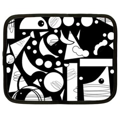 Happy Day   Black And White Netbook Case (xxl)  by Valentinaart