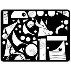 Happy Day   Black And White Fleece Blanket (large)