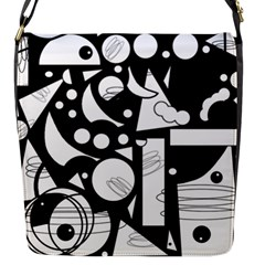 Happy Day   Black And White Flap Messenger Bag (s) by Valentinaart