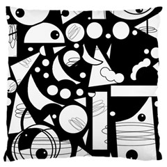 Happy Day   Black And White Large Flano Cushion Case (one Side) by Valentinaart