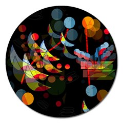 Magical Night  Magnet 5  (round) by Valentinaart
