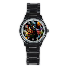 Magical Night  Stainless Steel Round Watch by Valentinaart