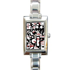 Happy Life   Red Rectangle Italian Charm Watch by Valentinaart