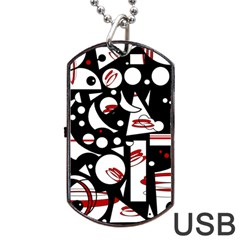 Happy Life   Red Dog Tag Usb Flash (two Sides)  by Valentinaart