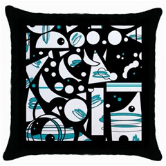 Happy Life   Blue Throw Pillow Case (black) by Valentinaart