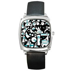 Happy Life   Blue Square Metal Watch by Valentinaart