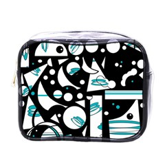 Happy Life   Blue Mini Toiletries Bags by Valentinaart