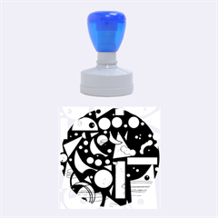 Happy Life   Blue Rubber Round Stamps (medium) by Valentinaart