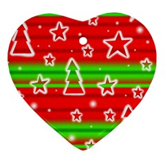 Christmas Pattern Heart Ornament (2 Sides) by Valentinaart