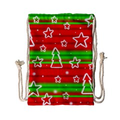Christmas Pattern Drawstring Bag (small) by Valentinaart