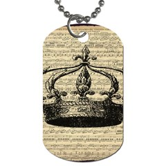 Vintage Music Sheet Crown Song Dog Tag (two Sides) by AnjaniArt