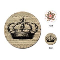 Vintage Music Sheet Crown Song Playing Cards (round)  by AnjaniArt