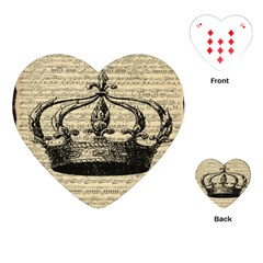 Vintage Music Sheet Crown Song Playing Cards (heart)  by AnjaniArt