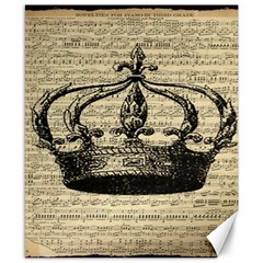 Vintage Music Sheet Crown Song Canvas 8  X 10  by AnjaniArt