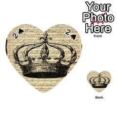 Vintage Music Sheet Crown Song Playing Cards 54 (heart)  by AnjaniArt