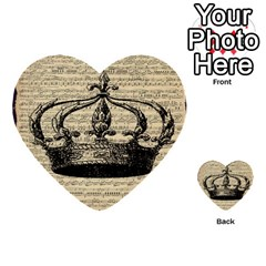 Vintage Music Sheet Crown Song Multi Purpose Cards (heart)  by AnjaniArt