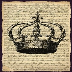 Vintage Music Sheet Crown Song Magic Photo Cubes by AnjaniArt