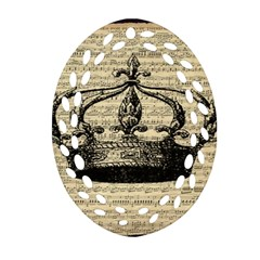 Vintage Music Sheet Crown Song Oval Filigree Ornament (2 Side)  by AnjaniArt