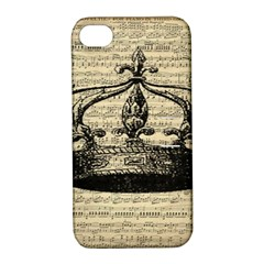 Vintage Music Sheet Crown Song Apple Iphone 4/4s Hardshell Case With Stand by AnjaniArt