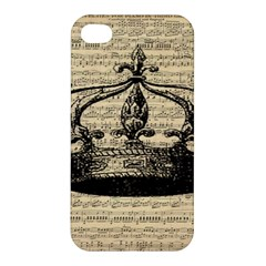 Vintage Music Sheet Crown Song Apple Iphone 4/4s Hardshell Case by AnjaniArt