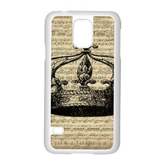 Vintage Music Sheet Crown Song Samsung Galaxy S5 Case (white) by AnjaniArt