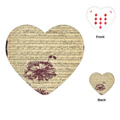 Vintage Music Sheet Song Musical Playing Cards (heart)  by AnjaniArt