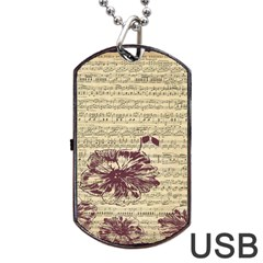 Vintage Music Sheet Song Musical Dog Tag Usb Flash (one Side) by AnjaniArt