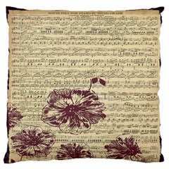Vintage Music Sheet Song Musical Large Flano Cushion Case (two Sides) by AnjaniArt