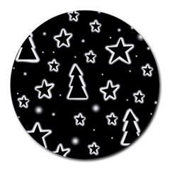 Black And White Xmas Round Mousepads by Valentinaart