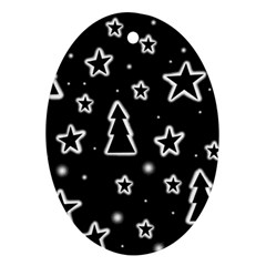 Black And White Xmas Ornament (oval)  by Valentinaart